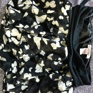 Wet Seal black and cream butterfly mini skirt